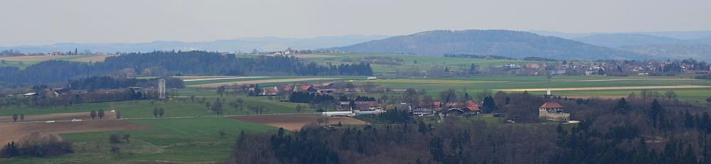 Schurwald stretching north with castle Waescherschloss (below right)