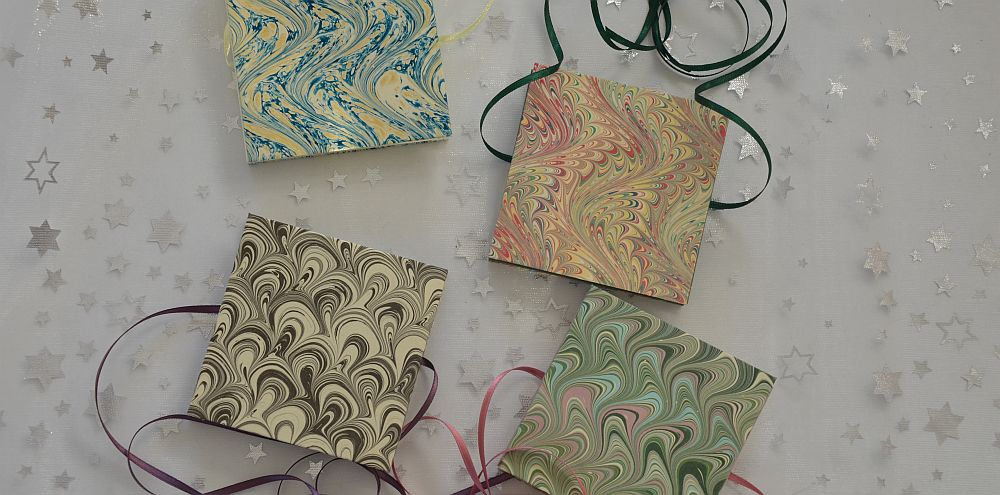 Marbled paper handmade by Victoria Hall